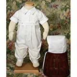Little Things Mean a Lot Adam Boys Christening Outfit Coverall, White, 6 Months