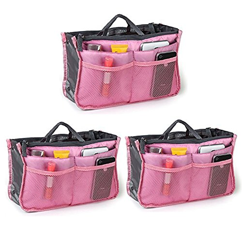 Top Quality Organizer Travel Bag For Women| 12 Compartment Tote/ Toiletry Bag For Makeup & Travel/ Cosmetic Accessories Organizing| Large Liner Insert-Organizer| Women's Handbags ( Pink x 3 ) (Fabric Craft Organizer compare prices)