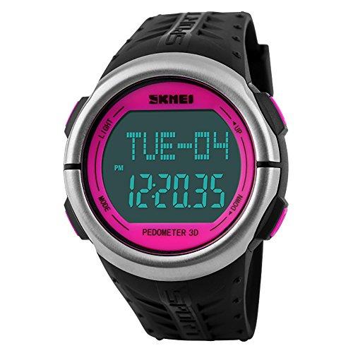 redmid SKMEI Unisex Heart Rate Monitor Contapassi digitale orologio sportivo impermeabile 50m rosa