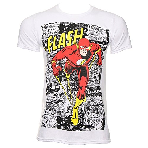 T Shirt DC Comics The Flash Comic Strip (Bianco) - Large