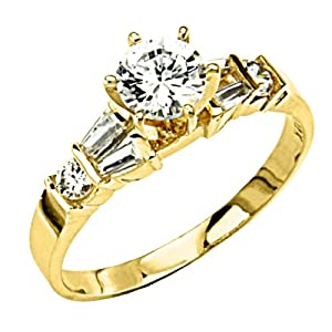14K Yellow Gold Solitaire Round CZ Cubic Zirconia High Polish Finish Ladies Wedding Engagement Ring Band with Baguette & Round Side Stone (Size 4 to 9) - Size 4