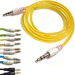 YELLOW 3.5mmto 3.5mm Stereo Car Audio Jack To Jack Tangle Free AUX Auxilliary Cable Lead For BLACKBERRY CURVE 9320 Android Mobile Cellular Cell Phone