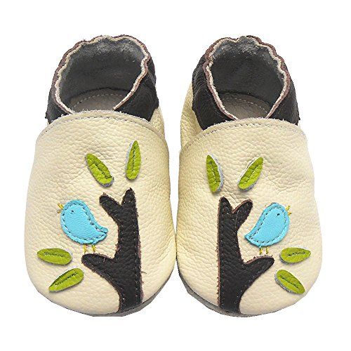 Sayoyo Baby Bird & Tree Soft Sole Leather Infant Toddler Prewalker Shoes (Beige, 18-24 months)