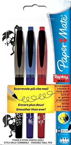 paper-mate-s0190882-radierbarer-kugelschreiber-replay-max-3-er-blister-strichbreite-m-schreibfarbe-s