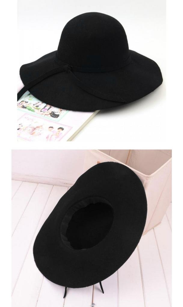 FUNOC Fashion Vintage Women Ladies Floppy Wide Brim Wool Felt Fedora Cloche Hat Cap 3
