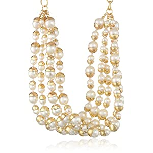 Multi-Row Twisted Pearl Chunky Statement Necklace, 14