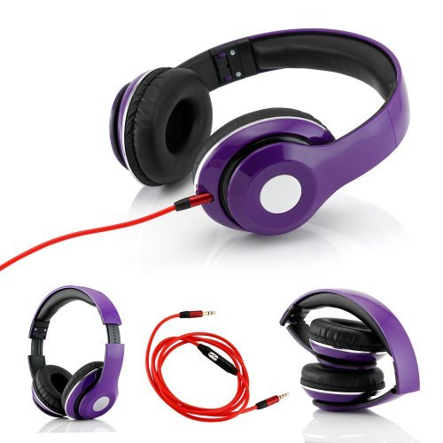 Gearonic Tm Adjustable Circumaural Over-Ear Earphone Stero Headphone With Built-In Microphone Iphone Ipad Android Ipod Mp3 Mp4 Pc - Purple