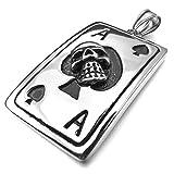 Kalendone Retro Stainless Steel Skull Ace of Spades Playing Card Necklace,Playing Card Necklace for Men,Women