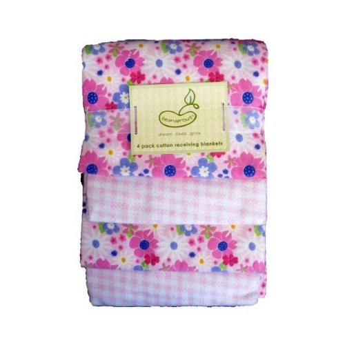 Beansprout Wildflowers Receiving Blankets 4 Pack - 1