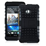 JKase DIABLO Series Tough Rugged Dual Layer Protection Case Cover with Build in Stand for HTC One M7 - Retail Packaging - Black