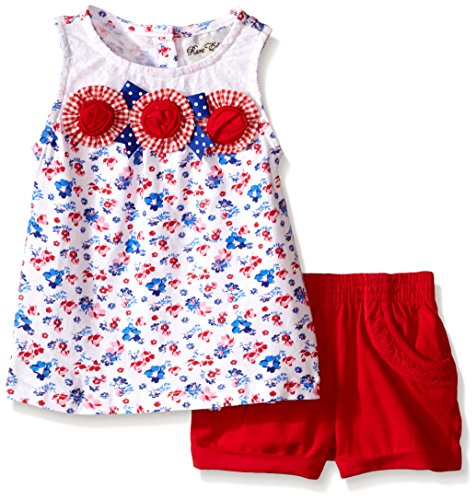 Rare Editions Girls' Little Flower Applique Short Set, Multi/Red, 4T