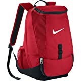 Nike Men's Club Team Swoosh Soccer Backpack with rain flap for secure storage, large dual zip compartment Perfect for Sports and School (Red) (Color: red)