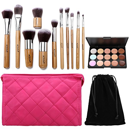 ACEVIVI 15 colori Concealer 11pcs maniglia di legno Spazzola di trucco Kabuki Brush Foundation Brush Powder Makeup Brush