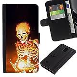 iKiki Tech Etui Coque Housse de Protection en Cuir Skeleton Black Magic Bones Flames Fire Art Samsung Galaxy Note 4 SM N910