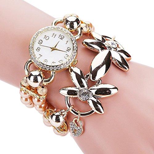 Moda perla di lusso del braccialetto del quarzo Orologi delle donne casuali delle donne da polso Relogio Feminino Relojes Mujer Montres (beige)