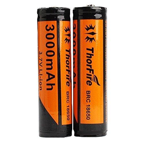 2 Pièces Piles 18650 ThorFire 3.7V 3000mAh utiliser Cellules Samsung Li-ion Rechargeable pour LED Lampe Torche Camping Randonnée Chasse Vélo