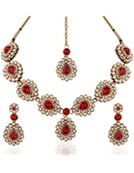 I Jewels Traditional Gold Plated Elegantly Handcrafted Pearl & Stone Jewellery Set With Maang Tikka For Women...