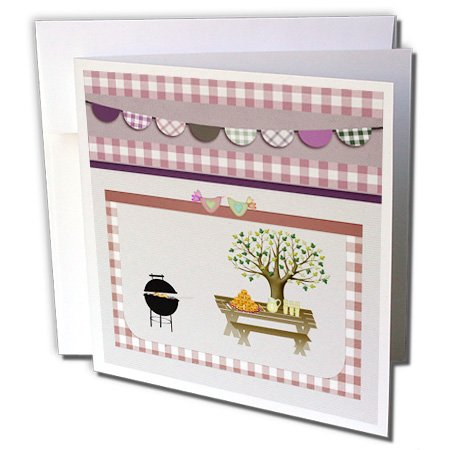 3Drose 8 X 8 X 0.25 Inches Barbeque Pit, Picnic Table With Platter And Lemon Aid, Dusty Pink Gingham Greeting Cards, Set Of 12 (Gc_182718_2)