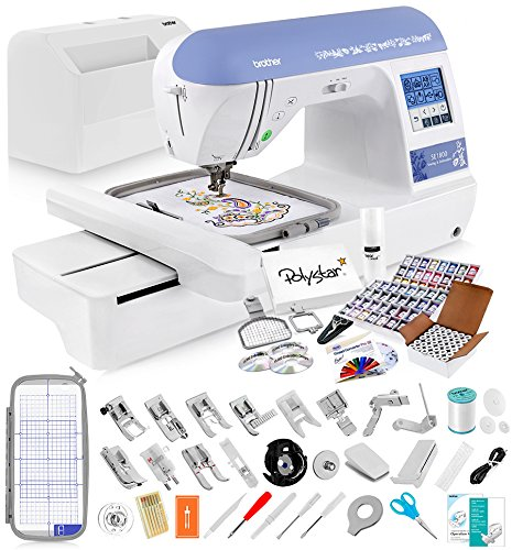 Find Discount Brother SE1800 Sewing and Embroidery Machine + Grand Slam Package Includes 64 Embroide...