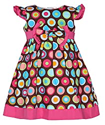 Chipchop Girls' Dress (WFGD0020BR_Brown_3-4 Years)