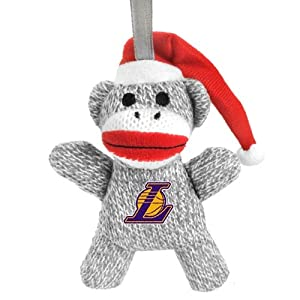 Los Angeles Lakers NBA Basketball 2013 Sock Monkey Stuffed Christmas Ornament by Forever Collectibles