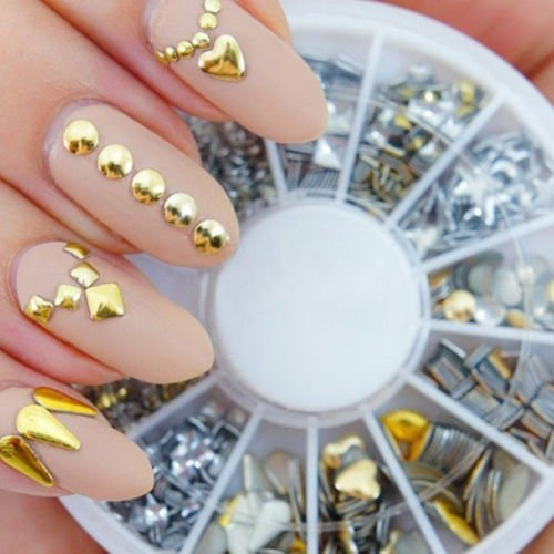 Professional-High-Quality-Manicure-3D-Nail-Art-Decorations-Wheel-With-Gold-And-Silver-Metal-Studs-In-12-Different-Shapes-By-VAGA
