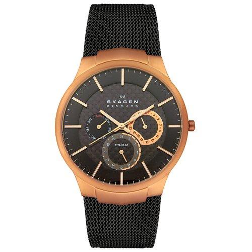 Skagen Men's 809XLTRB Titanium Collection Multifunction Black Mesh Titanium Watch