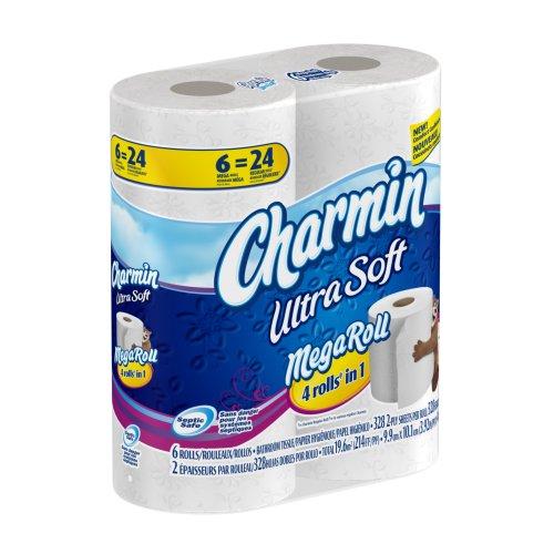 Charmin ultra soft toilet paper 6 mega rolls pack of 3