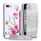 White / Multicoloured Pink Floral Butterfly Pattern Silicone Gel Case Cover And Stylus Pen For The Apple iPhone 4 / 4S With Screen Protector Film And Grey Micro-Fibre Polishing Clothby Yousave