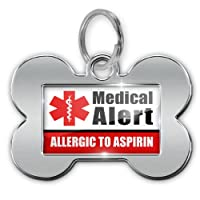 """Dog Bone Pet ID Tag Medical Alert Red """"Allergic to Aspirin"""" - Neonblond by NEONBLOND"""