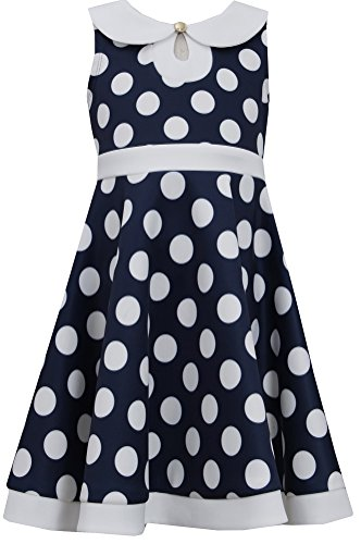 Bonnie Jean Girls Timeless Large Dot Navy White Dress, 10 front-218579