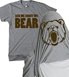 Ask Me About My Angry Bear T Shirt Funny Bear Flip Shirt Bears Flipover Tee by Crazy Dog Tshirts