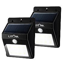 Litom 8 LED Solar Lights Garden Wireless Security Light Outdoor Solar Motion Lights for Patio Yard