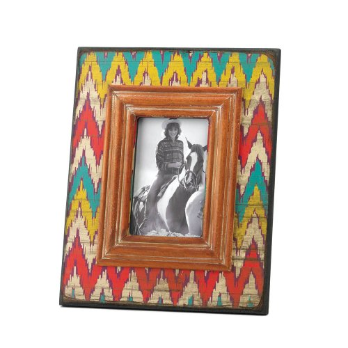 Colorful Aged Style Ikat Chevron Wooden Photo Frame - 1