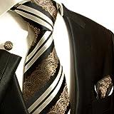 "Krawatten Set 3tlg schwarz weiss barock Seidenkrawatte + Manschettenkn�pfe + Einstecktuch by Paul Malonevon ""P. M. Krawatten"""