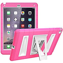 iPad Air 2 Case, i-Blason Apple iPad Air 2 Case ArmorBox [Dual Layer] Convertible [Heavy Duty] Full-Body Protection KickStand Case with Built-in Screen Protector for Kids Friendly 2014 Release (iPad Air 2, Pink/White)