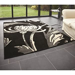 5 Sizes Available - Retro Classics - Loretta Black/Grey - Good Quality Floral Rug from Flair Rugs