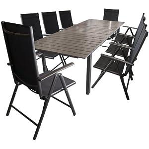9tlg gartengarnitur sitzgruppe sitzgarnitur aluminium non wood gartentisch. Black Bedroom Furniture Sets. Home Design Ideas
