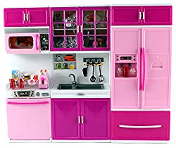 My Happy Kitchen Dishwasher Sink Refrigerator Battery Operated Toy Doll Kitchen Playset W/ Lights, Sounds, Perfect For Use With 11 12