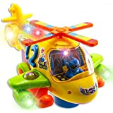 WolVol Electric Helicopter Toy with Flashing Lights and Real Helicopter Sounds, Bump & Go Action (Battery Operated) - Great Gift Toys for Kids
