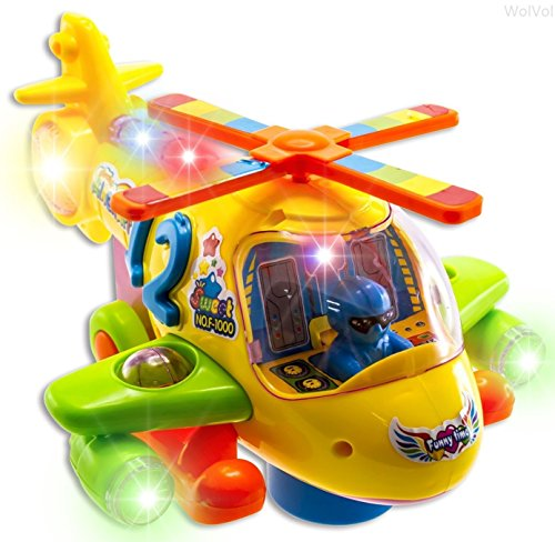 WolVol Electric Helicopter Toy with Flashing Lights and Real Helicopter Sounds, Bump & Go Action (Battery Operated) - Great Gift Toys for Kids - 1