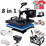 Z ZTDM Digital Heat Press 8 in 1 Transfer Sublimation Multifunction Machine,Rhinestone/T-Shirt/Hat/Mug/Plate/Cap Heat Press Mouse Pads Jigsaw Puzzles DIY Press,12