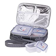 LOCK IT - Lunch Box With 4 Sided Aqua Lock It Containers & Thermal Pouch 3 Pcs Set