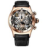 Reef Tiger Luminous Sport Watch with Year Month Date Day Steel Skeleton Dial Unique Watch RGA703 (Color: RGA703-YGB)