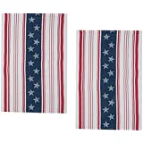 Patriotic Liberty Flag Cotton Jacquard Kitchen Towel, Set of 2