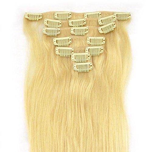 RemyHair Remy Echthaar Haarverlaengerung Clip-In-Extensions 38CM 16clips 70g#613 Platin-Blondine