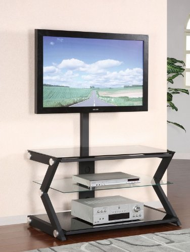 Cheap 40″ TV Media Stand with Bracket and Chrome Accents in Sandy Black Finish (AZ00-46552×21240)