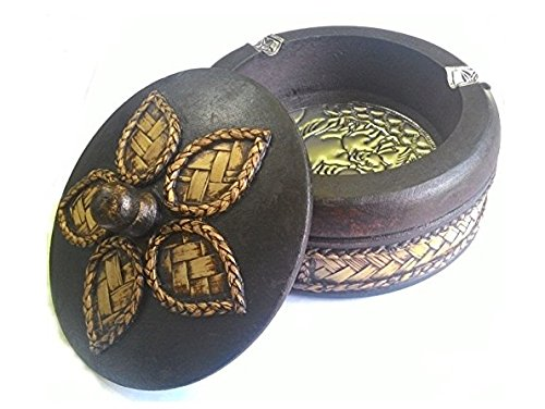 Wood Ashtray Vintage Design with Elephant Silver Plated Circle Shaped Large Size 4