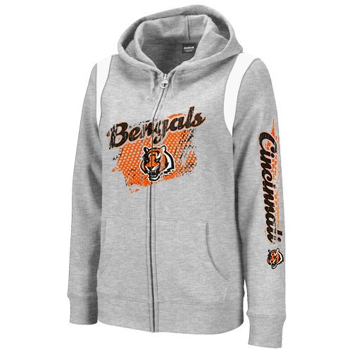 NFL Reebok Cincinnati Bengals Women's Logo Splash Hoodie - Ash (Small) Amazon.com