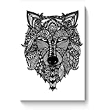 PosterGuy Poster - Zen Wolf Zentangle Art, Wolf, Zen, Line Art, Wall Art, Wall Decor, Black, Zen Art, Doodle,...